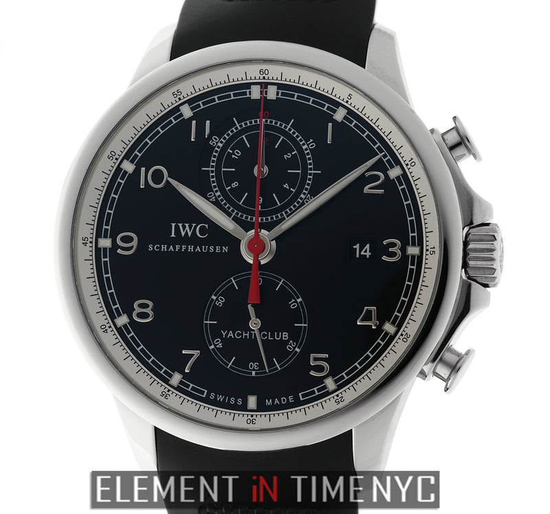 Yacht Club Chronograph Steel Black Dial 45mm