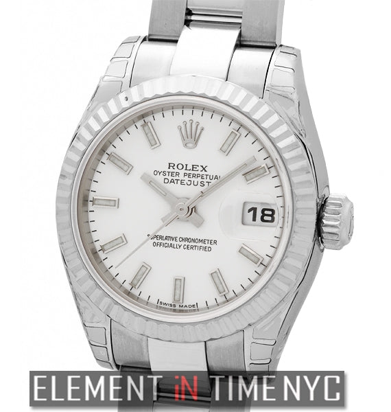 Ladies 26mm Stainless Steel White Index Dial