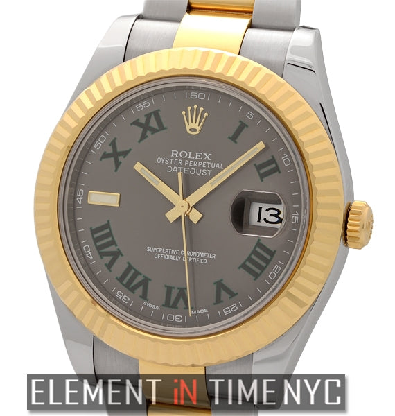 Steel & Gold 41mm Slate Roman Dial