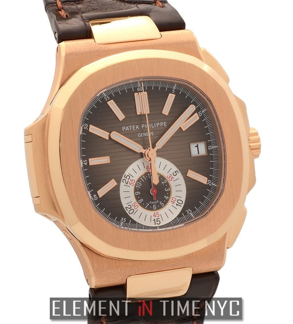 Chronograph 18k Rose Gold Black-Brown Dial On Strap