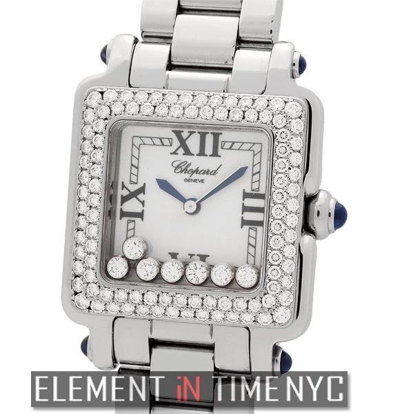 Classic Square 7 Floating Diamonds Diamond Bezel