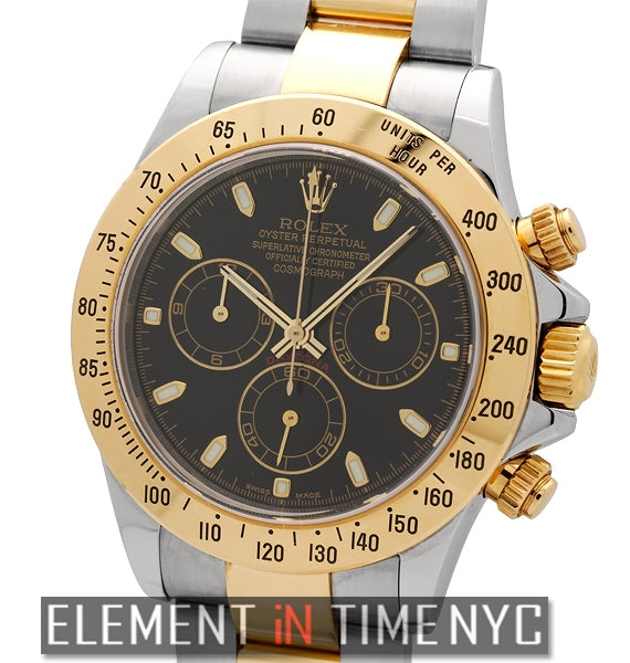 Steel & 18k Yellow Gold Black Dial