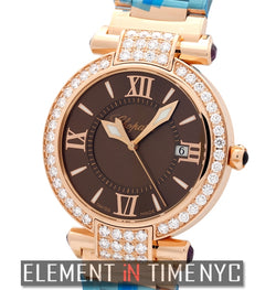 18k Rose Gold Diamond Bezel Brown Dial 36mm