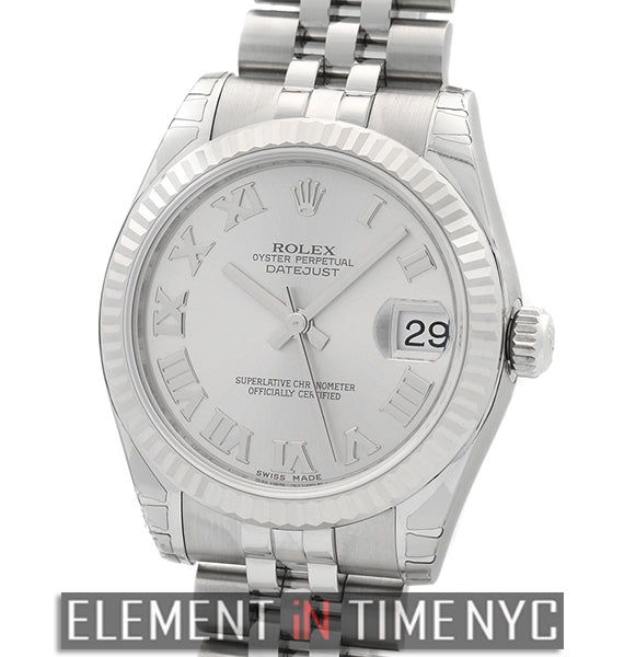 Stainless Steel 31mm Rhodium Roman Dial