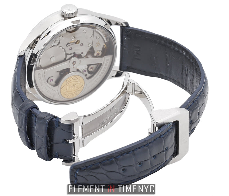 7 Days Stainless Steel Silver Dial Blue Numerals 44 Jewels 42mm