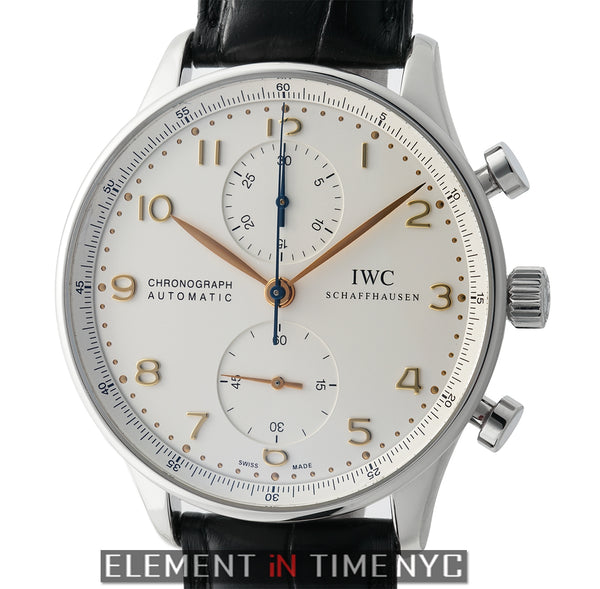 Chronograph Stainless Steel Silver Dial Gold Arabics