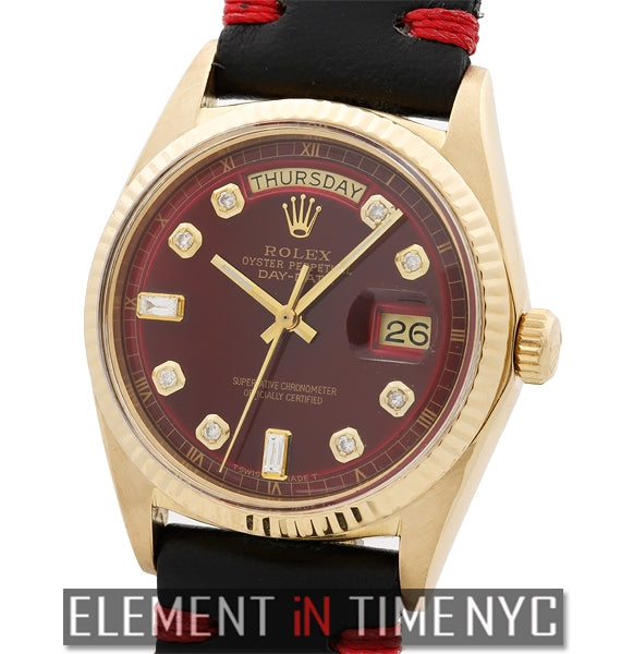 Vintage 18k Yellow Gold Red Diamond Dial