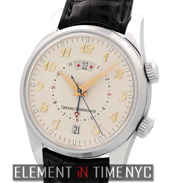 Alarm GMT Steel 40mm Ivory Dial Gold Arabic Numerals