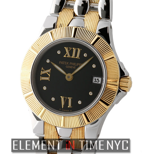 Neptune Steel & Yellow Gold 26mm Black Diamond Dial