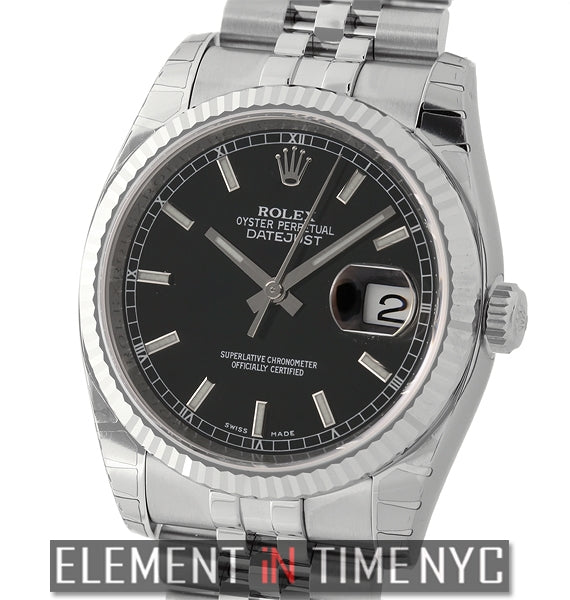 36mm Stainless Steel Fluted Bezel Black Index Dial