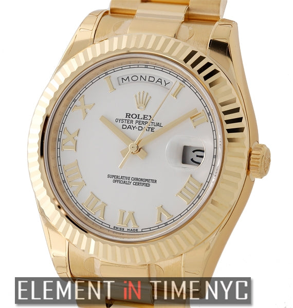 President 18k Yellow Gold 41mm White Roman Dial