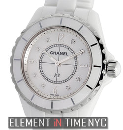 White Ceramic Mother Of Pearl Diamond Dial Quartz