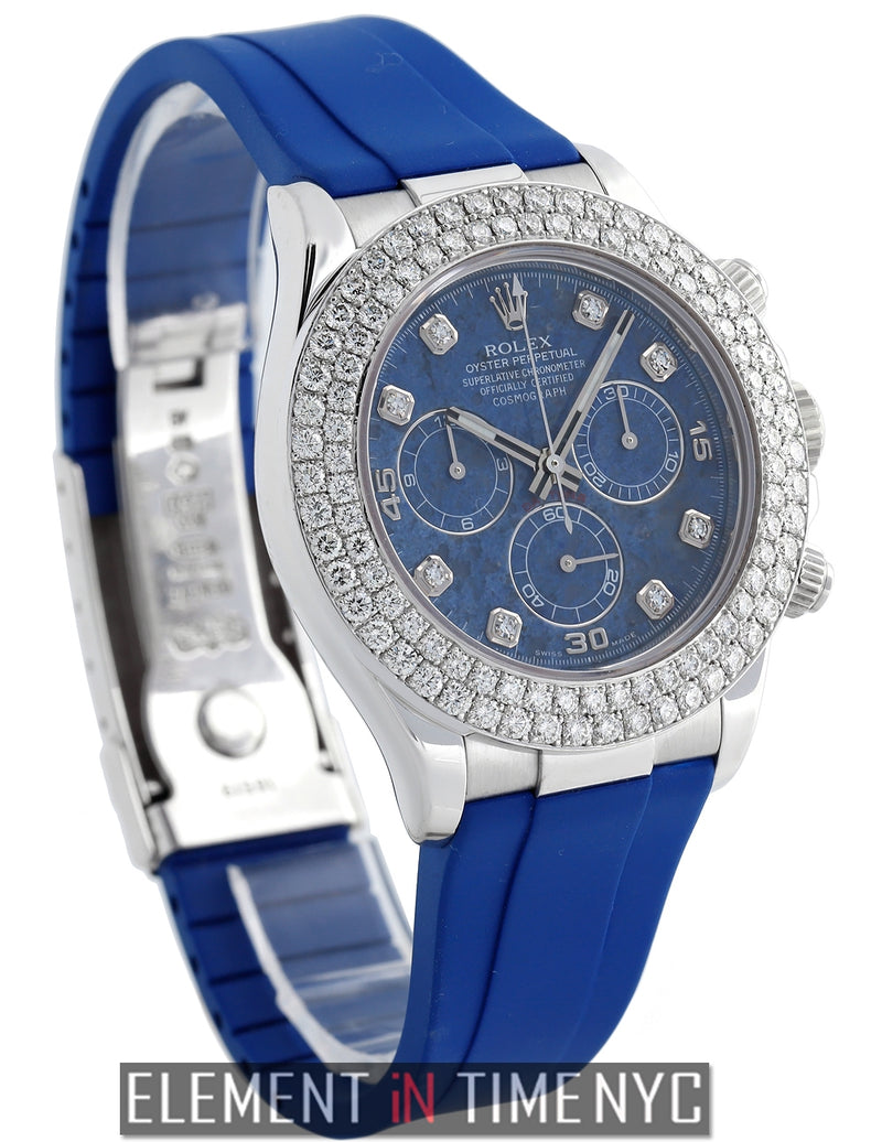 18k WG 4.0 CT 2-Row Diamond Bezel Sodalite Diamond Dial