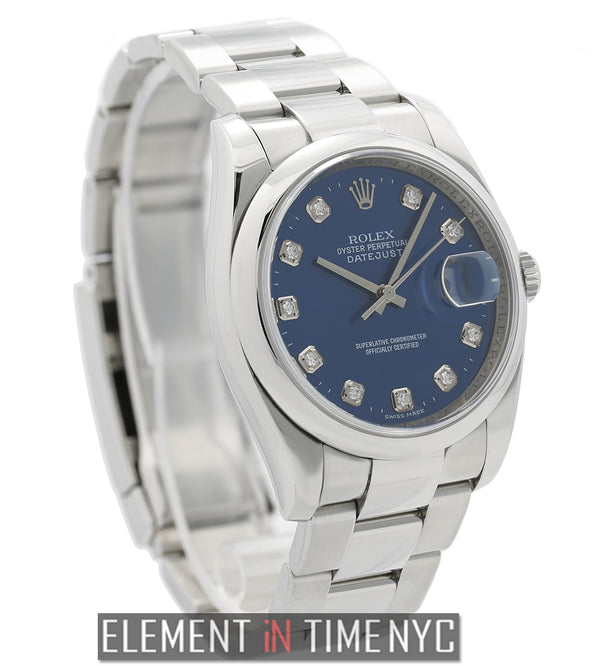 Steel 36mm Domed Bezel Blue Diamond Dial  2007