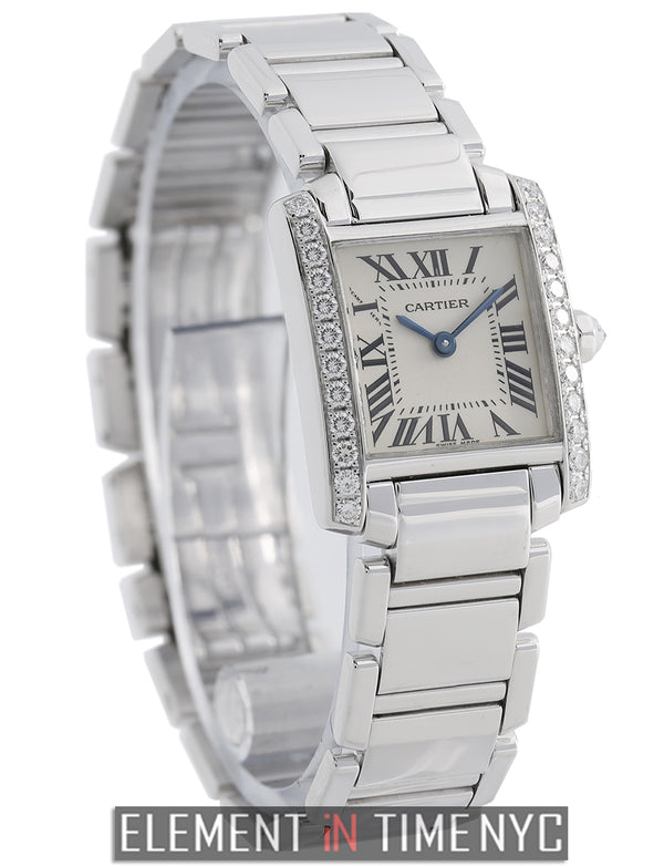 Tank Francaise Ladies 18k White Gold Diamond Bezel