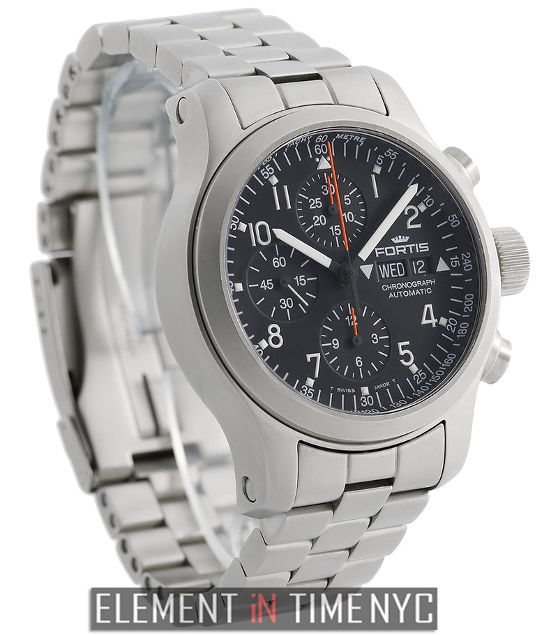 B42 Day-Date Chronograph Stainless Steel Black Dial