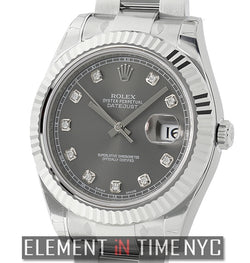 Steel & White Gold Rhodium Diamond Dial
