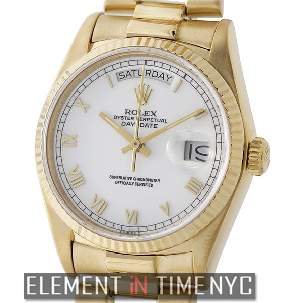 Vintage President 18k Yellow Gold Single Quick Set White Dial 1986