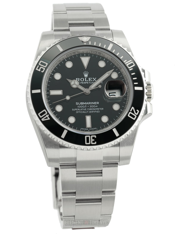 Date Ceramic Bezel Steel Black Dial