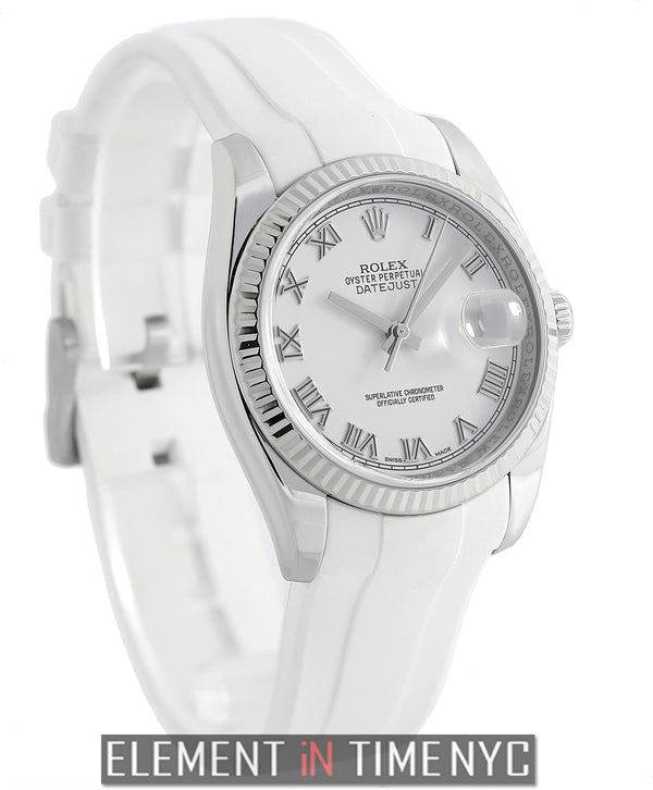 36mm Steel & White Gold White Roman Dial On Rubber B 2007