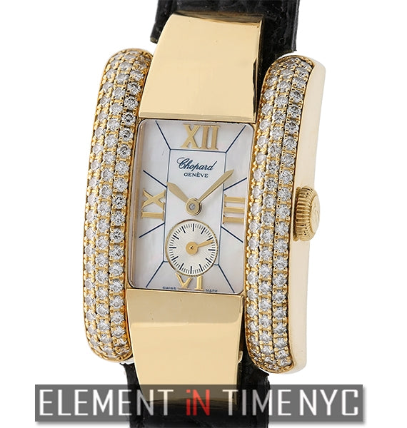 18k Yellow Gold Diamond Case Mother Of Pearl Dial