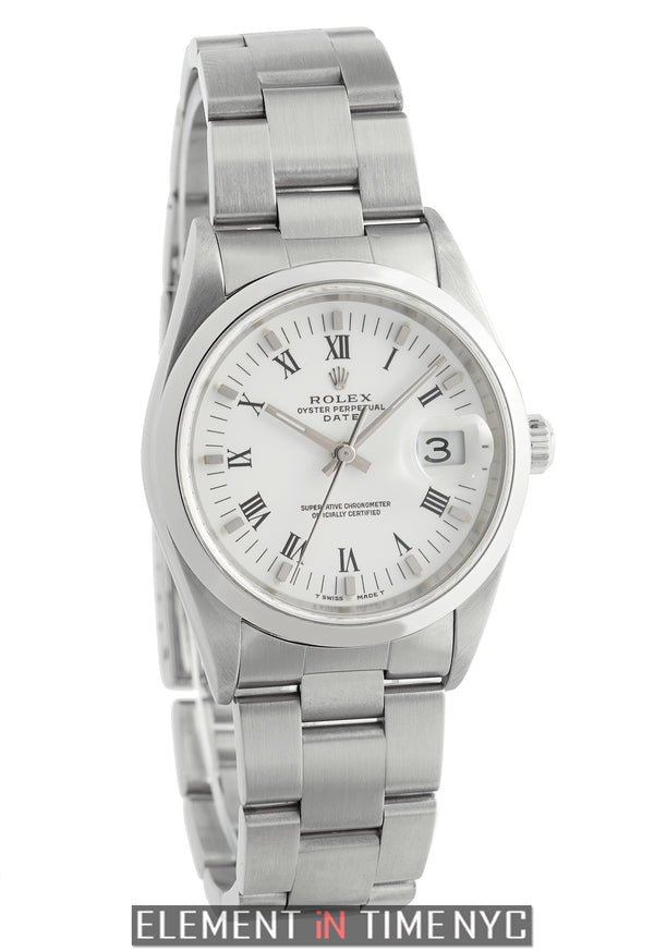34mm Date Steel Smooth Bezel White Roman Dial P Serial 2000
