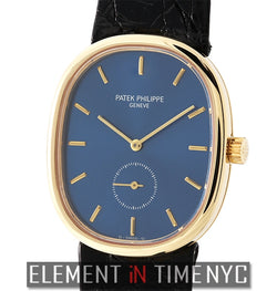 Vintage Ellipse 18k Yellow Gold Blue Dial 28mm Manual Wind