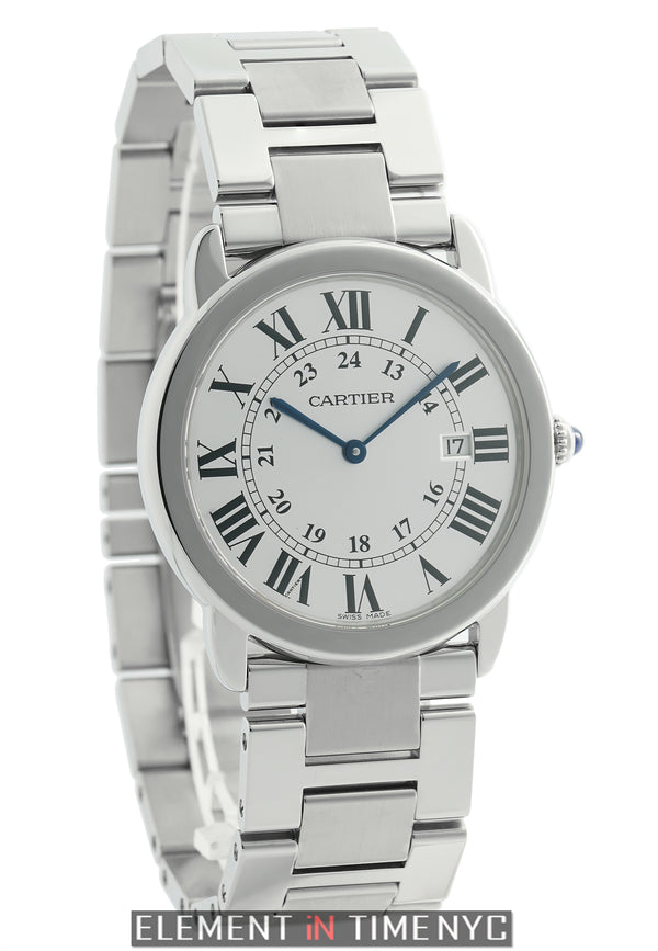 Large 36mm Stainless Steel Silver Dial Quartz