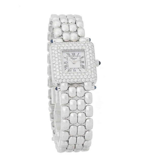 Classic Square Diamond Bezel 18k White Gold