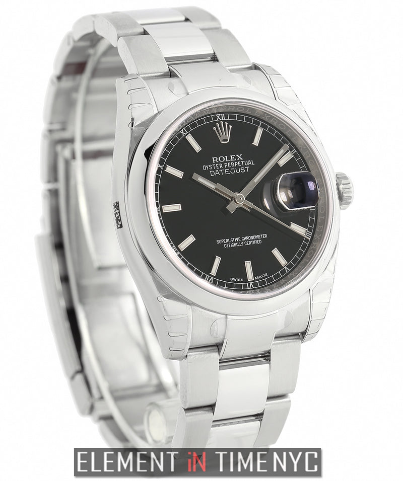 Steel 36mm Domed Bezel Black Index Dial