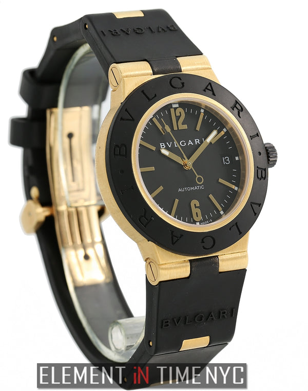 Sport 18k Yellow Gold And Rubber 38mm Black Dial