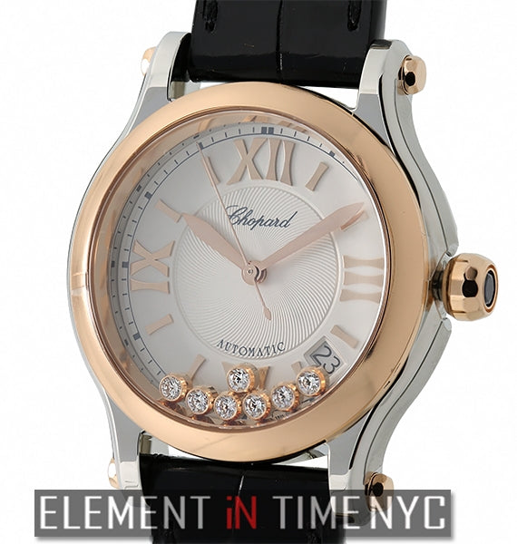 Medium Automatic 36mm Steel & Rose Gold 7 Floating Diamonds