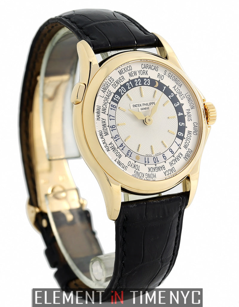 World Time 18k Yellow Gold 37mm Silver Dial