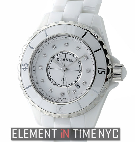 White Ceramic 33mm Quartz White Diamond Dial