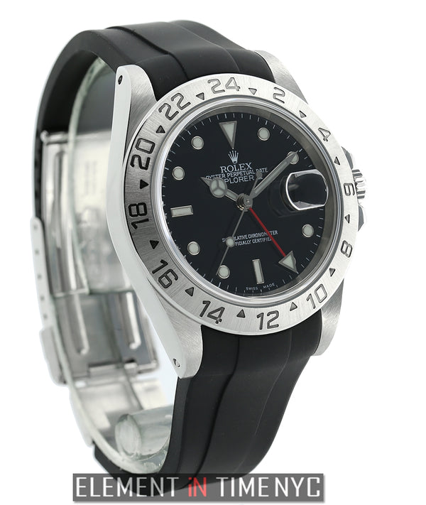 Stainless Steel 40mm Black Dial On Rubber B