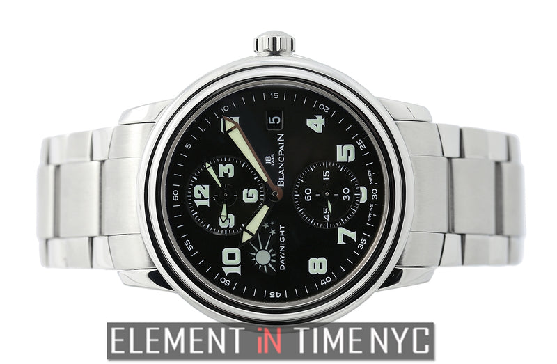Double Time Zone Stainless Steel Black Dial 38mm