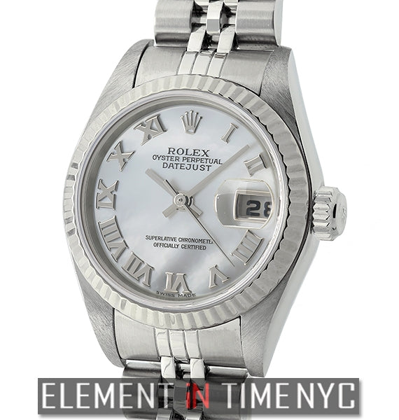 Lady 26mm Steel & Fluted White Gold Bezel MOP Dial Circa 2004