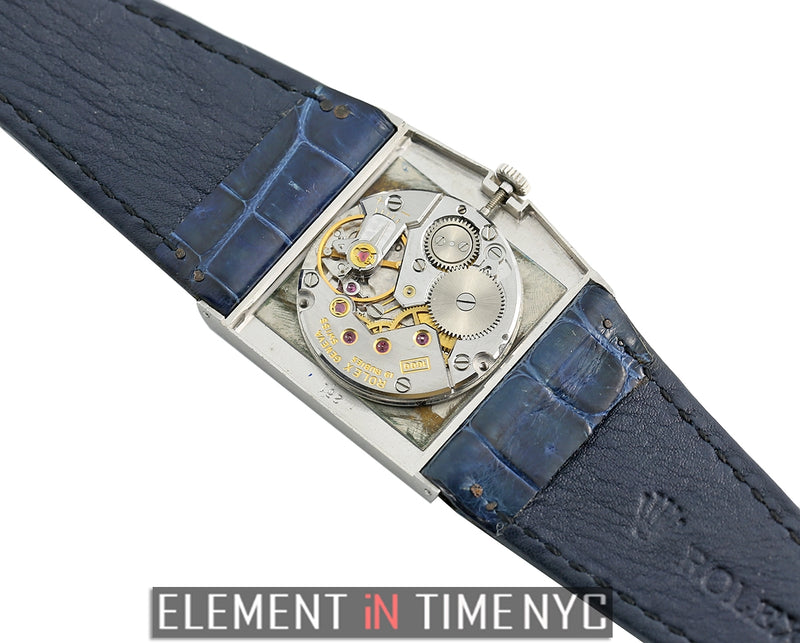 Vintage 18k White Gold 28mm Blue Dial Circa 1980