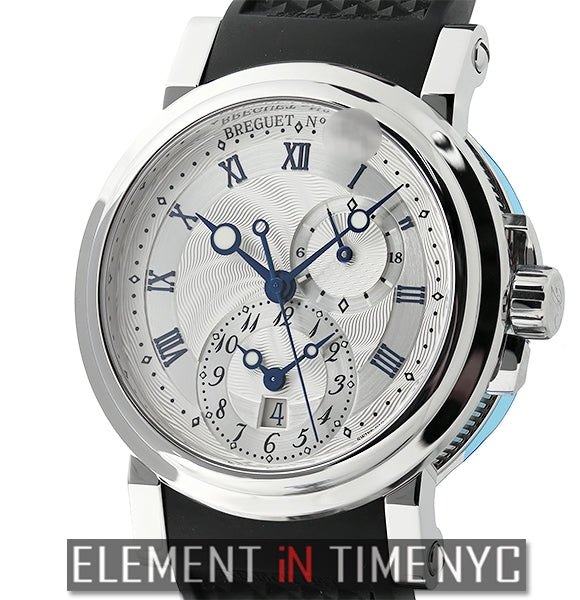 Dual Time Stainless Steel 42mm Silver Dial