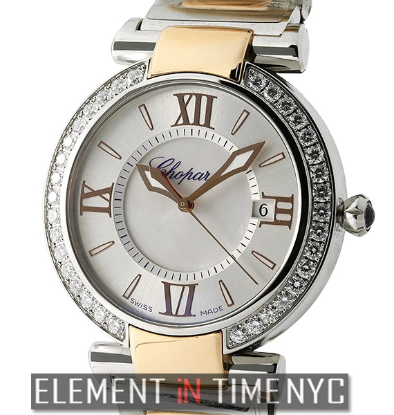 Steel & Rose Gold Diamond Bezel 36mm Mother Of Pearl Dial