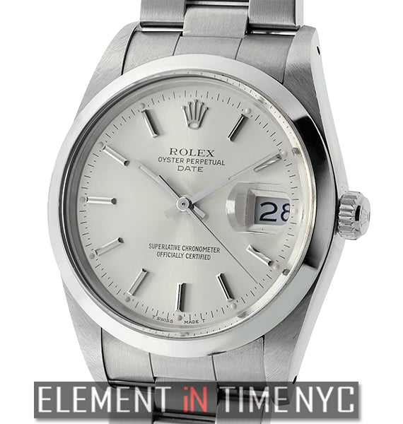 Date 34mm Stainless Steel Silver Index Dial L Serial Circa 1989