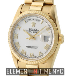 36mm President 18k Yellow Gold White Roman Dial Circa 1990