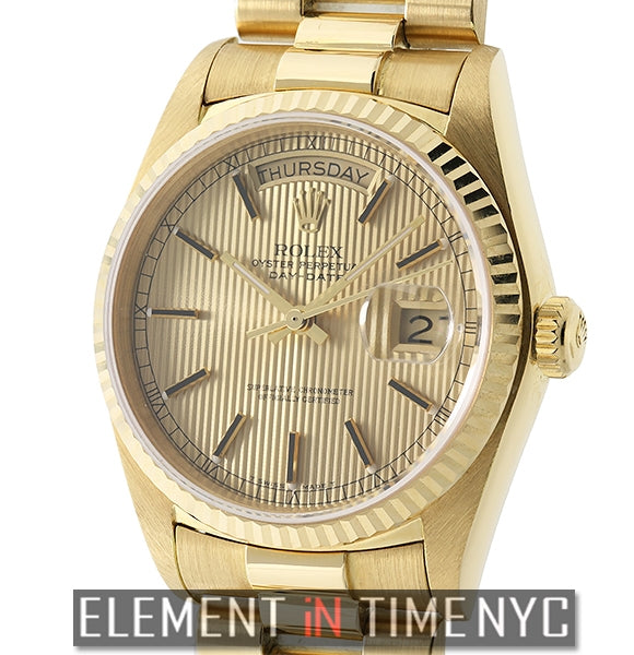 President 18k Yellow Gold Single Quick Set Champagne Dial 1986