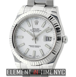 Steel & White Gold 41mm White Index Dial