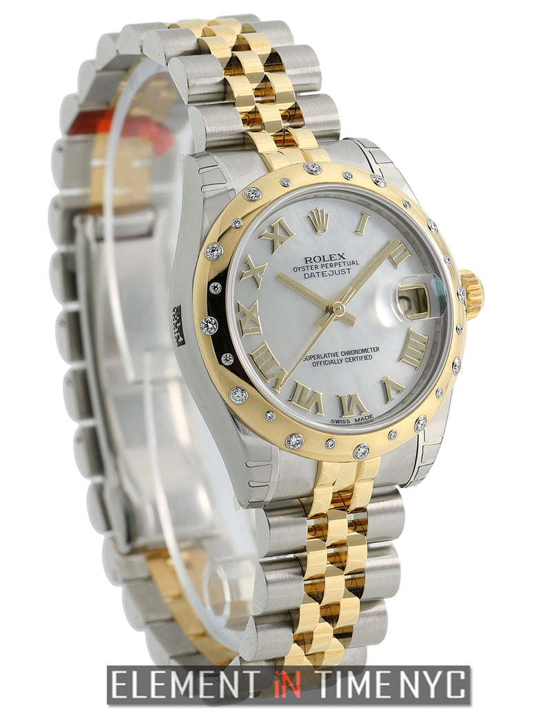Steel & Yellow Gold 31mm Diamond Bezel Mother Of Pearl Dial