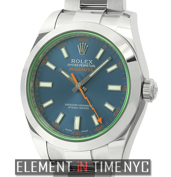 Stainless Steel 40mm Green Crystal Z-Blue Dial