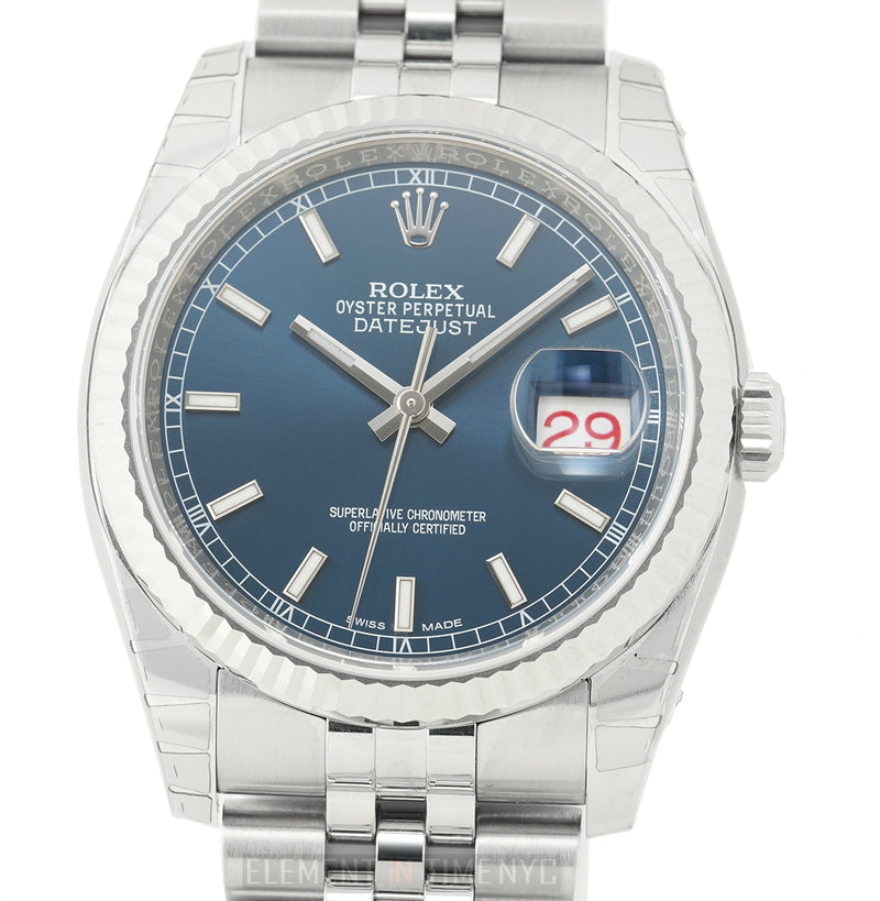 Steel 36mm White Gold Bezel Blue Index Dial Jubilee Bracelet