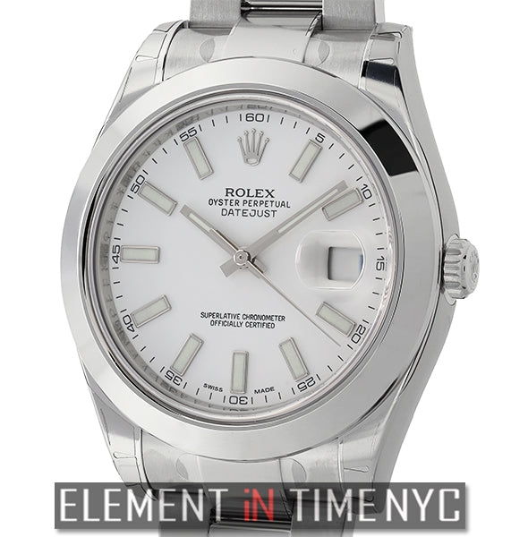 Stainless Steel White Index Dial