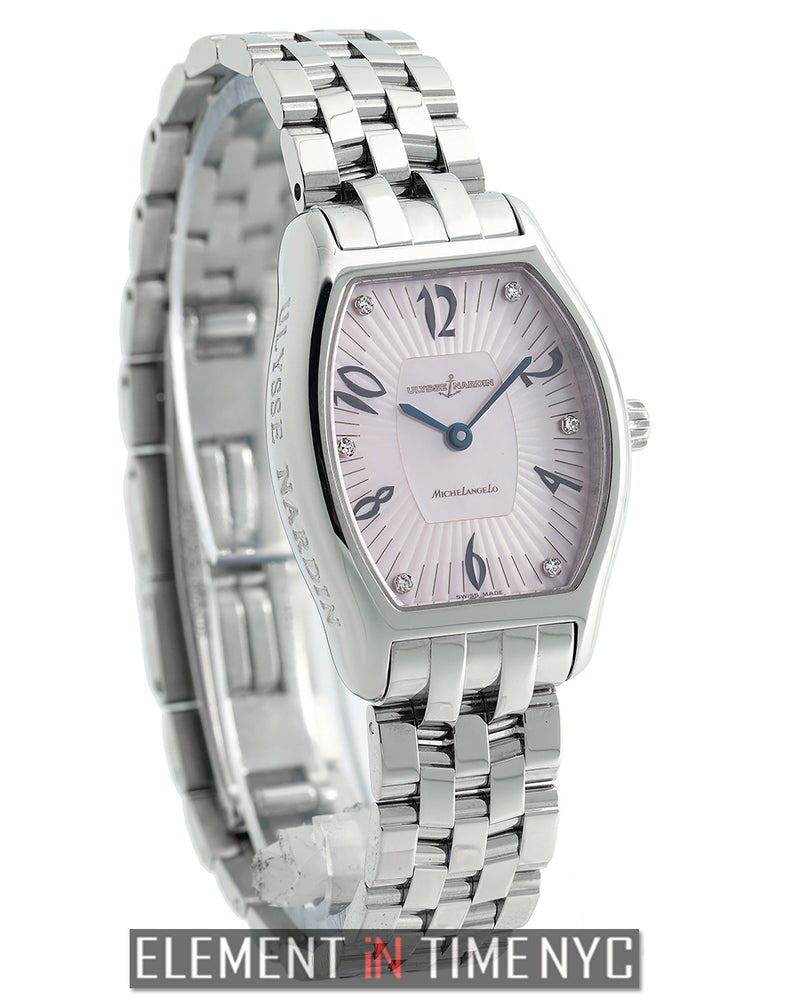 Stainless Steel 26mm Pink Mother Of Pearl Diamond Dial
