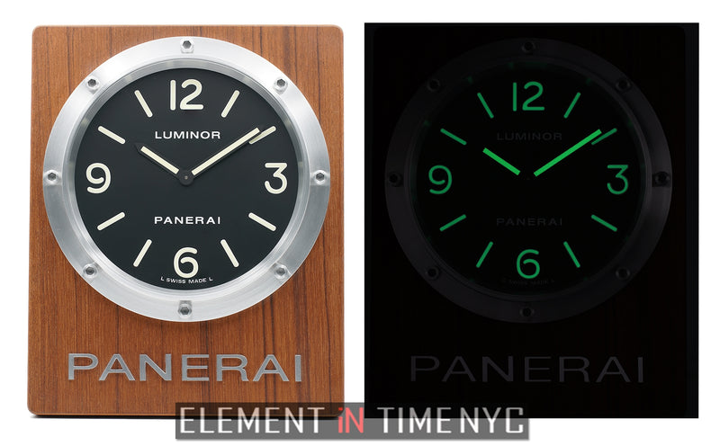 Luminor Steel 20cm Black Dial Wall Clock Quartz 2012